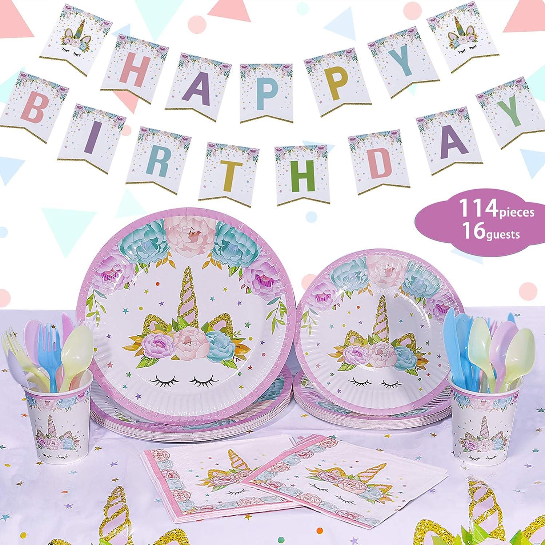 and First Birthday Party Favors with Unicorn Tablecloth Unicorn Party Supplies Set Unicorn Plates Utensils /& Happy Birthday Banner NALAKUVARA Unicorn Party Decorations for Birthday Girls Baby Showers Unicorn Napkins Serves 16 Unicorn Cups