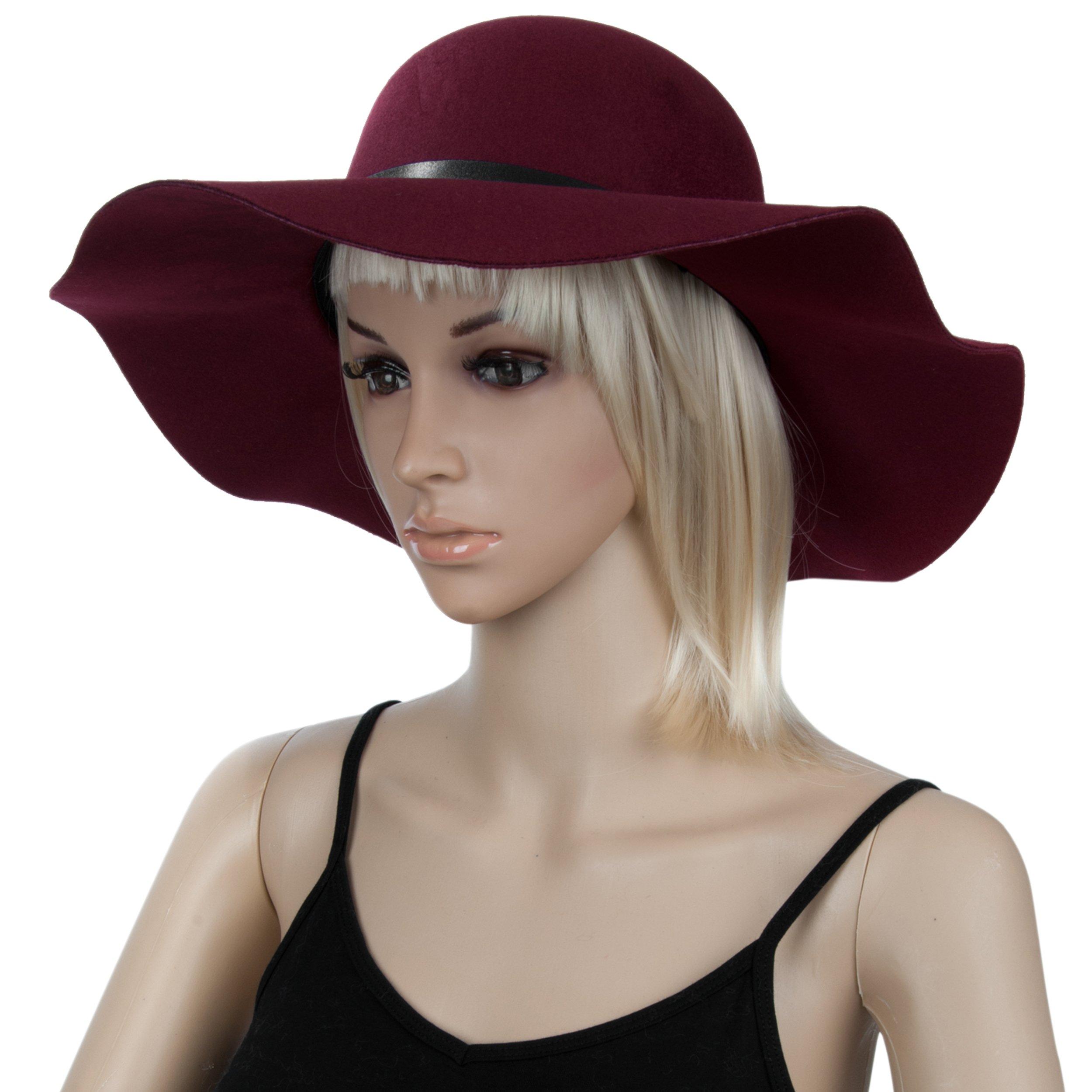 Aerusi Women's Vintage Classic Style Wool Felt Floppy Spring Fall Winter Fedora Hat Buckle Design