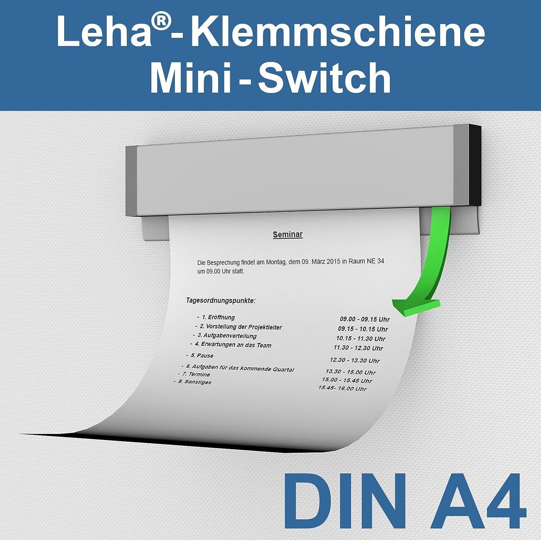 Leha® Klemmschiene, Wandklemmschiene, Klemmleiste Switch silber DIN A4 Aluminium
