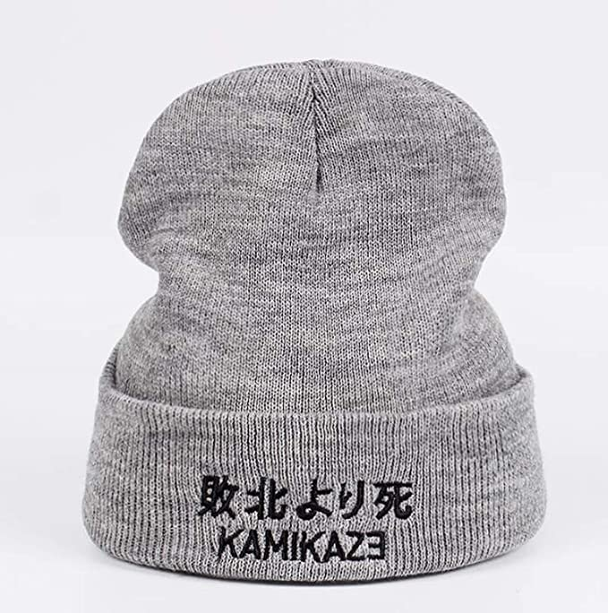 d5106bcd7d4 Kamikaze Knitted Hat Eminem Album Elastic Hats Elastic Embroidery Beanie  Winter Warm Ski Cap Gray