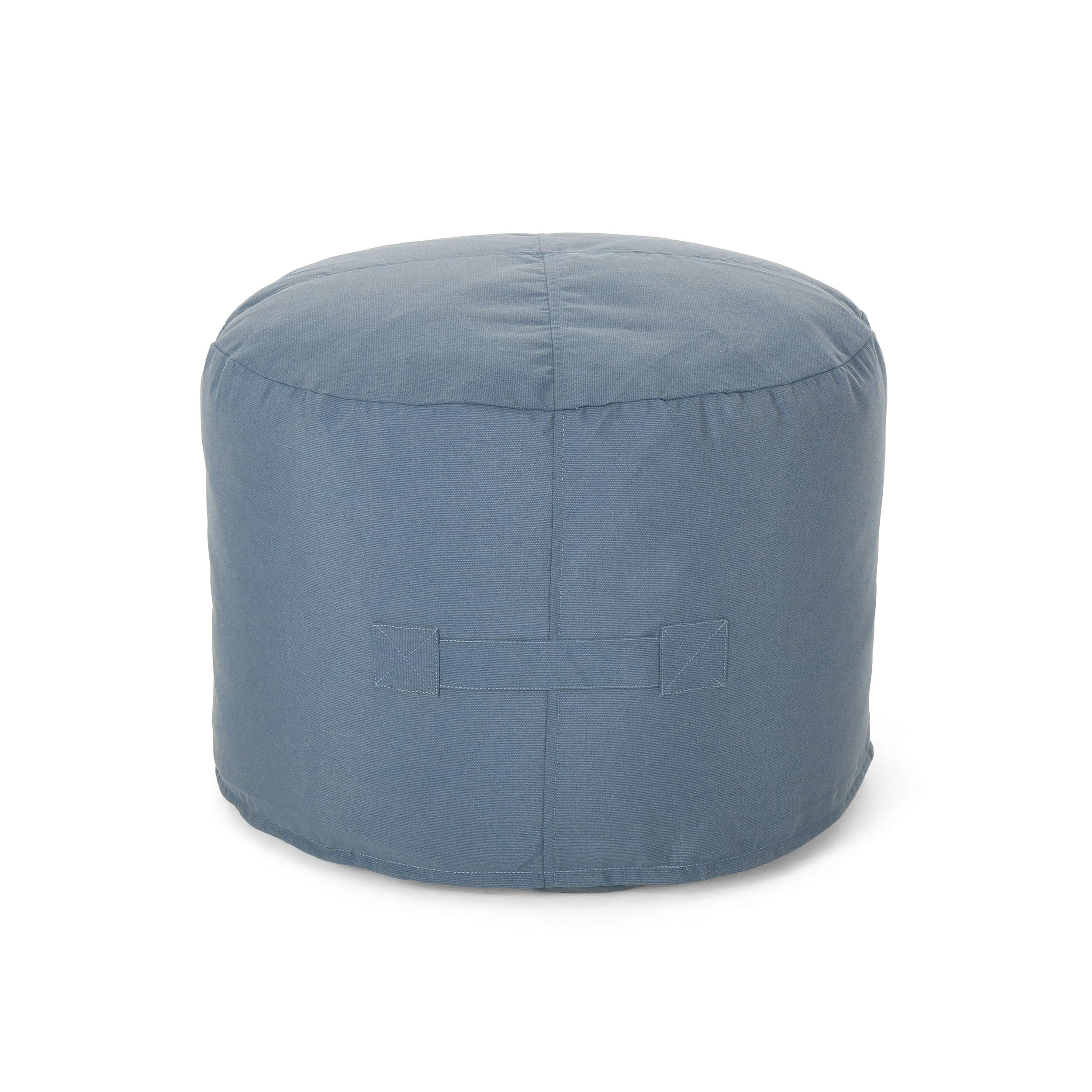 Great Deal Furniture Crystal Cay Outdoor Water Resistant 2' Ottoman Pouf, Blue