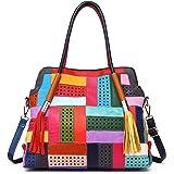 Women Genuine Leather Tote Multicolour Patchwork Hollow Shoulder Handbag Purses