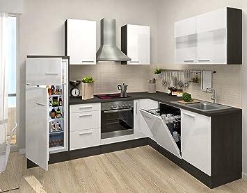 respekta Premium L-Form Winkel Küche Küchenzeile Eiche weiss ...