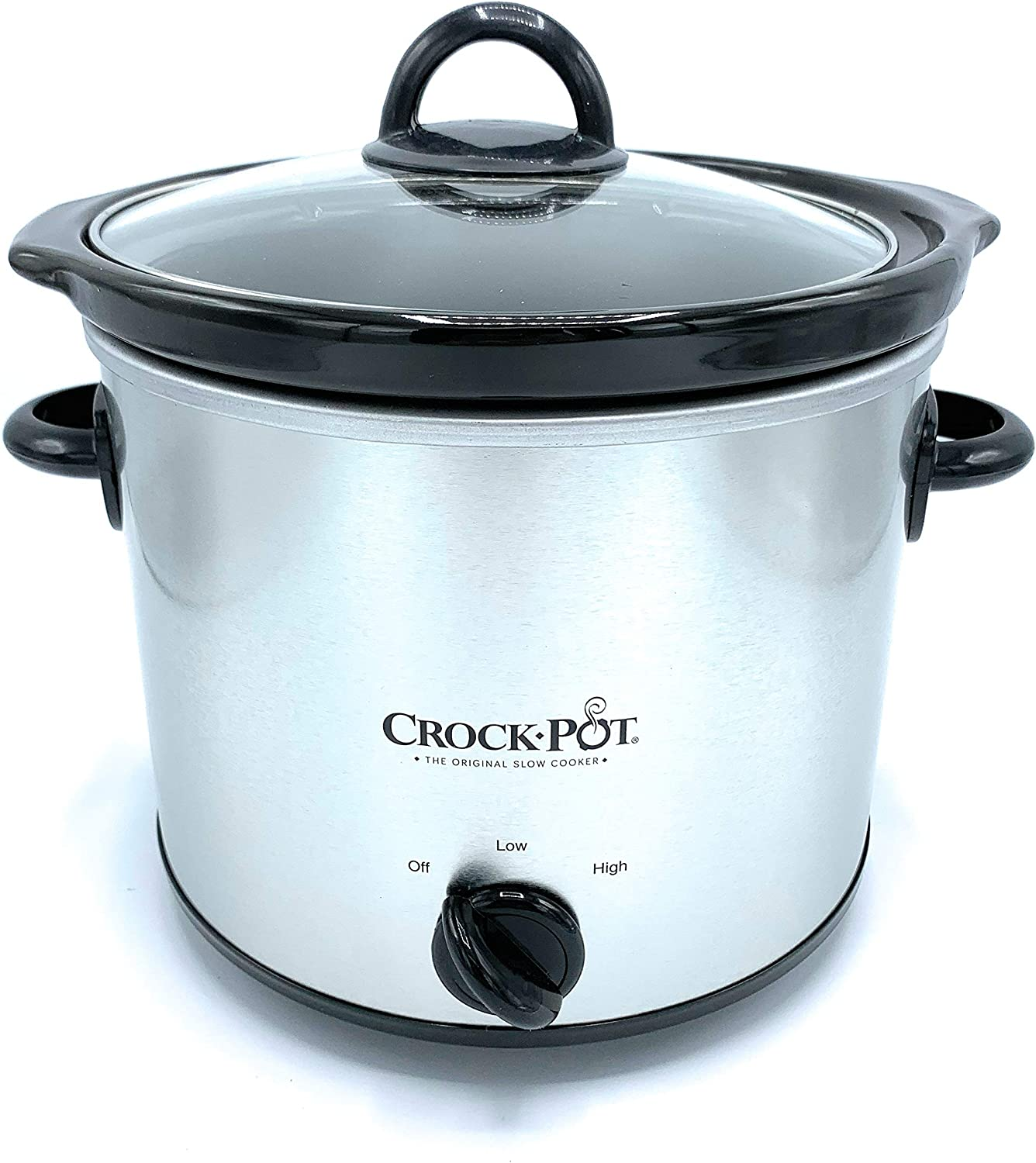 Crock Pot 4-Quart Round Slow Cooker-Silver. Crockpot Has Manual Control 2 Heat Settings- Recipes Included. Small Slowcooker With Glass Lid is Dishwasher Safe. Home Cooked Meals With One Pot Cooker.