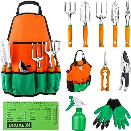 UKOKE Conjunto de ferramentas de jardim, kit de ferramentas manuais de alumínio, avental de lona de jardim com bolso de armazenamento, ferramenta ao ar livre, conjunto de trabalho de jardinagem resistente com alça ergonômica, ferramentas de jardinagem
