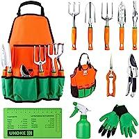 UKOKE Juego de herramientas de jardín, 12 piezas, kit de herramientas de mano de aluminio, delantal de lona de jardín…