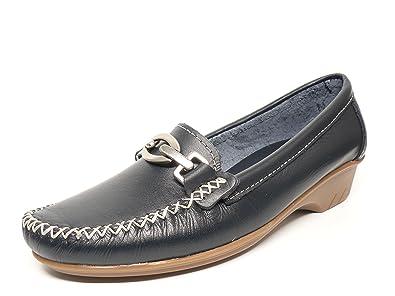 Zapato mujer casual mocasin marca DELTELL en piel color marino adorno estribo metalico 426 - 18: Amazon.es: Zapatos y complementos