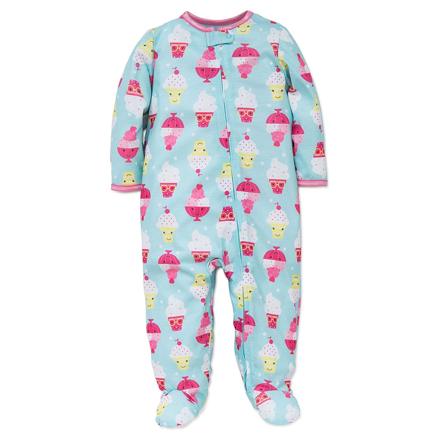04e0e04092 Amazon.com  Little Me Baby Girl Ice Cream Soft Zip Footie Pajamas Footed  Sleeper Green 24M  Clothing