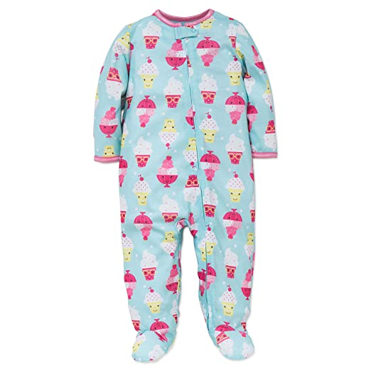 dc3d920aee Amazon.com  Little Me Baby Girl Ice Cream Soft Zip Footie Pajamas Footed  Sleeper Green 24M  Clothing