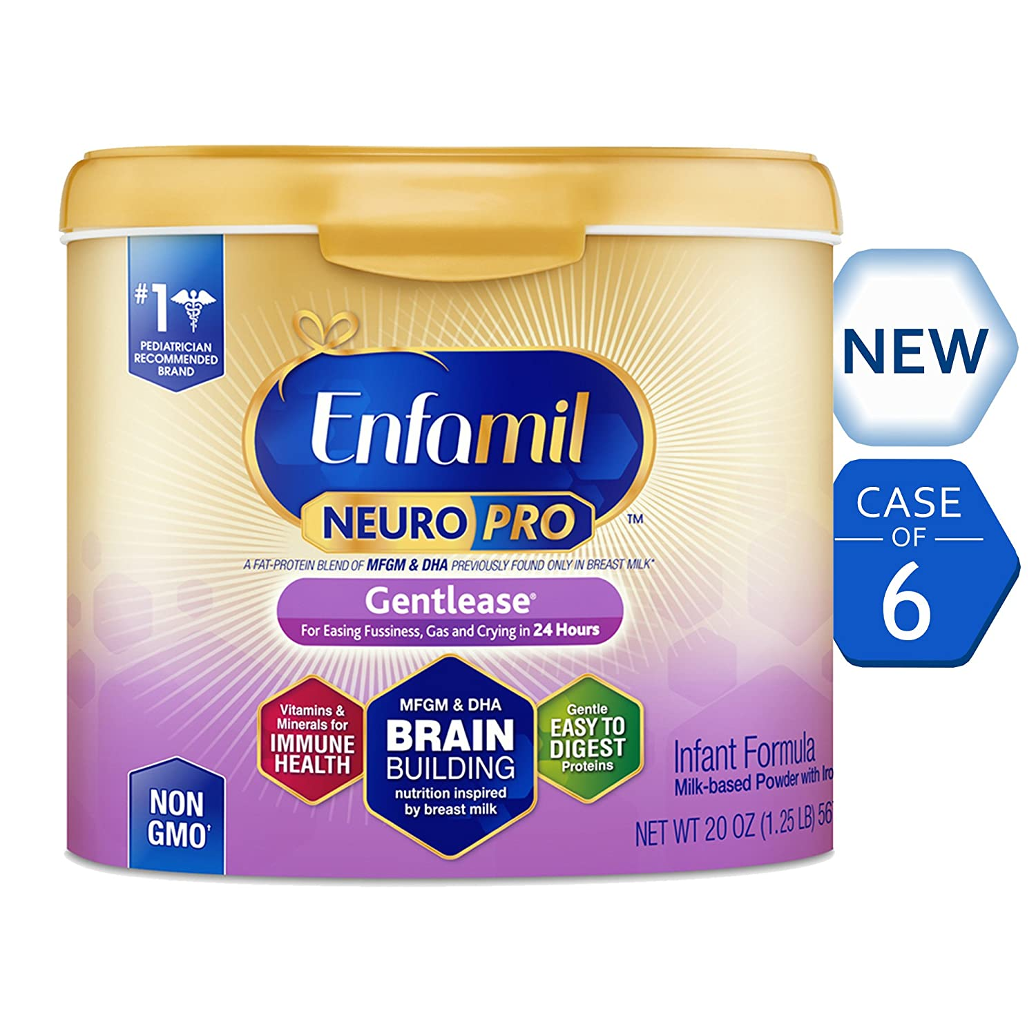 Enfamil NeuroPro Gentlease Infant Formula - Clinically Proven to reduce fussiness, gas, crying in 24 hours - Brain Building Nutrition Inspired by breast milk - Reusable Powder Tub, 20 oz Mead Johnson & Company B07BXH5F3X