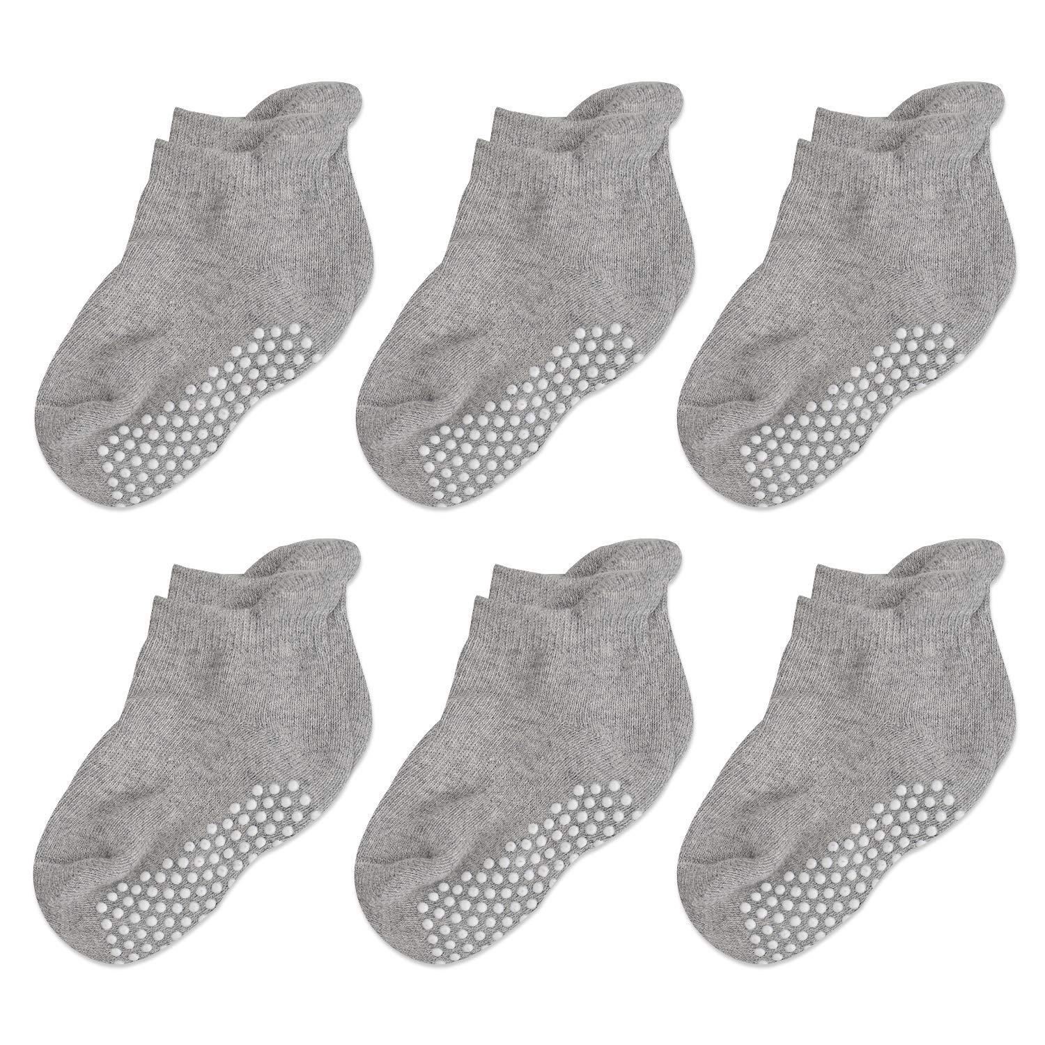 Epeius Unisex-Baby Non-Skid Socks Grip Ankle Socks Infants and Toddlers 6 Pair Pack