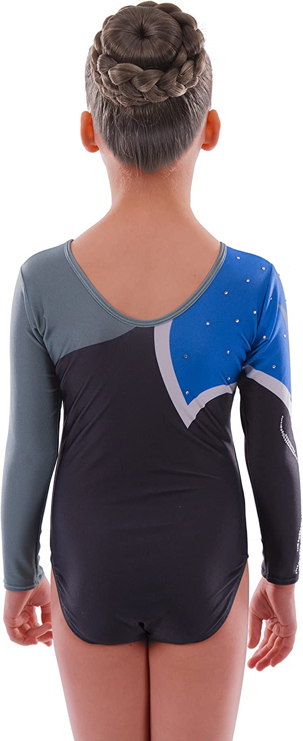 Ideal Kids Sleeved Dancewear for Gym And Ballet by Vincenza Long Sleeve Metallic Shiny Gymnastics Leotard for Girls