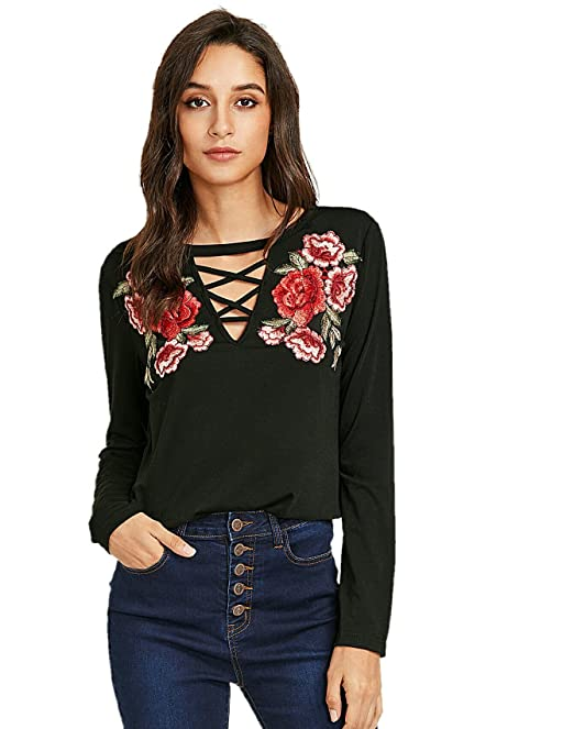 1fc421c400ddc Vitans Women Embroidery Patch Crisscross V Neck Top (Black)  Amazon ...
