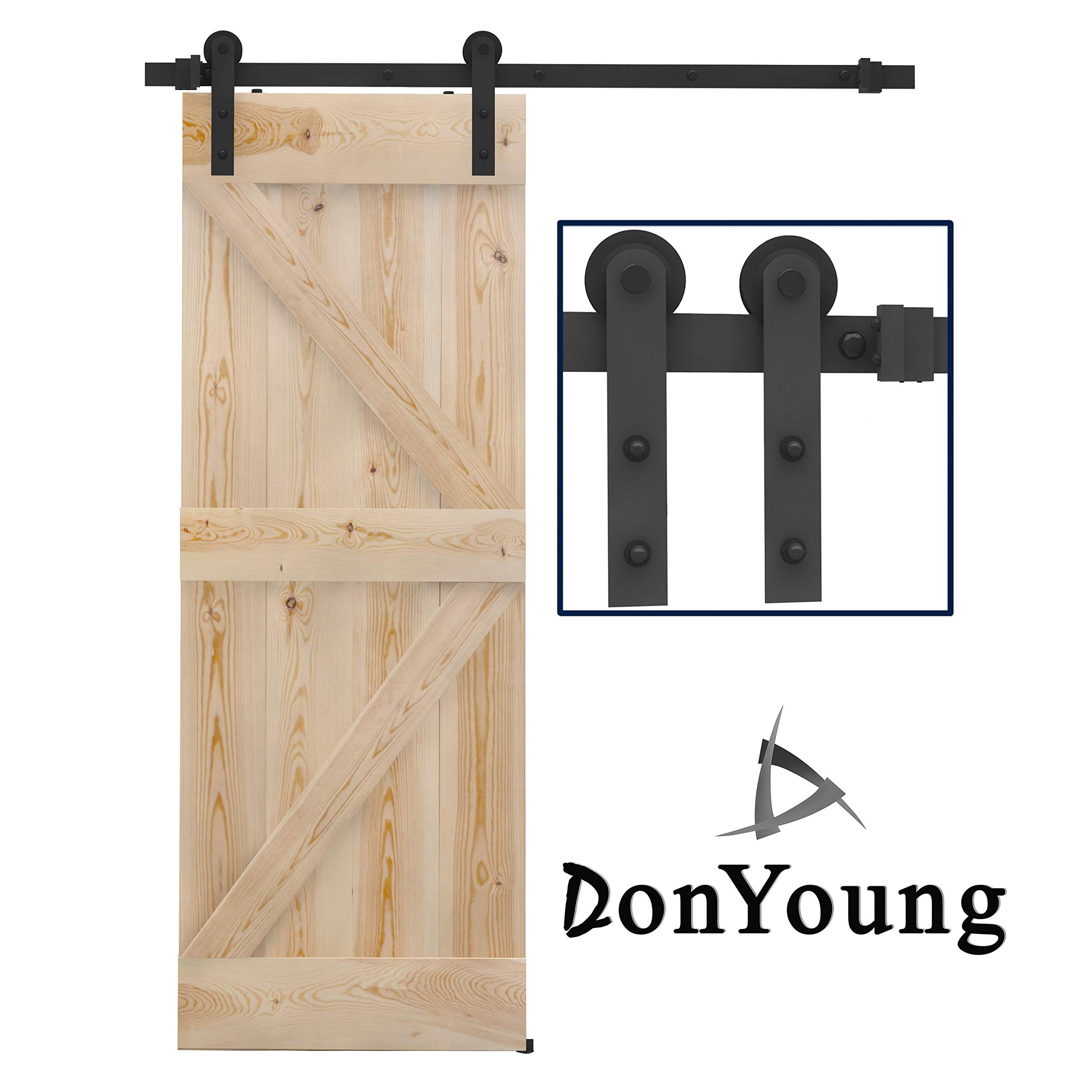 DonYoung 5 Feet Single Sliding Barn Door Hardware Kit, Heavy Duty Steel Barn Door Track 2PCS I-Shape Hanger with Quiet and Smooth Wheel, Includes All Necessary Accessories, Black