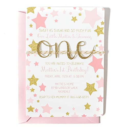 Custom First birthday invitation for girl, Pink and Gold, Twinkle little star, Gold glitter one cut out on twine, Arrives fully assembled with envelopes in ...