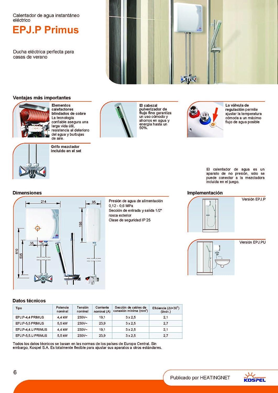 230 v 4,4kw calentador instantáneo eléctrico cuarto de baño ducha de agua caliente con ducha incluida: Amazon.es: Bricolaje y herramientas