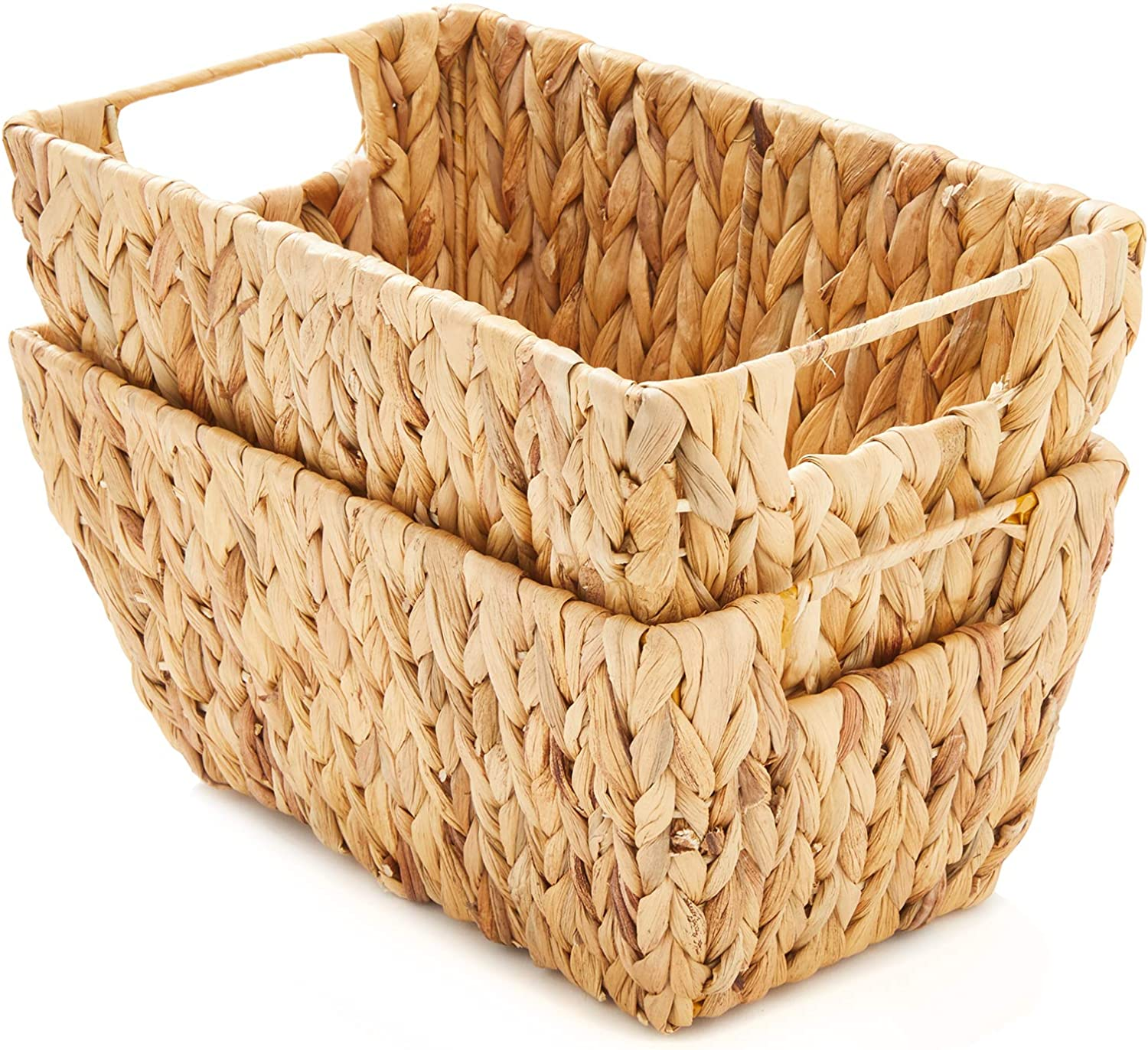 Americanflat Natural Set of 2 Rectangular Water Hyacinth Storage Baskets with Handles - Hand-Woven - Home Organizer Bins - Natural Water Hyacinth - Eco-Friendly