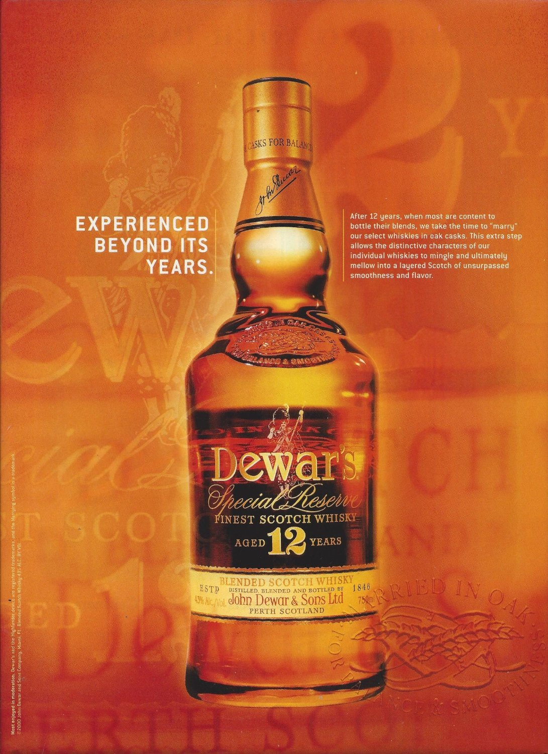 Amazon com: MAGAZINE AD For 2000 Dewars 12 Year Scotch