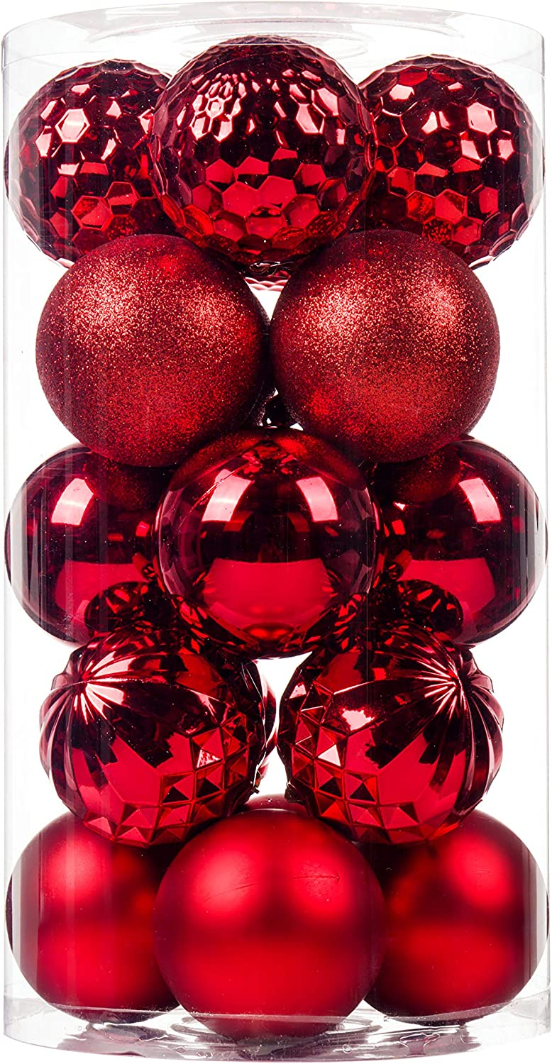 """SY CRAFT 20Ct Christmas Ball Ornaments for Xmas Tree Shatterproof Christmas Decorations Hanging Ball Small for Holiday Party Decoration,Tree Ornaments 3.15""""(80mm Red)"""