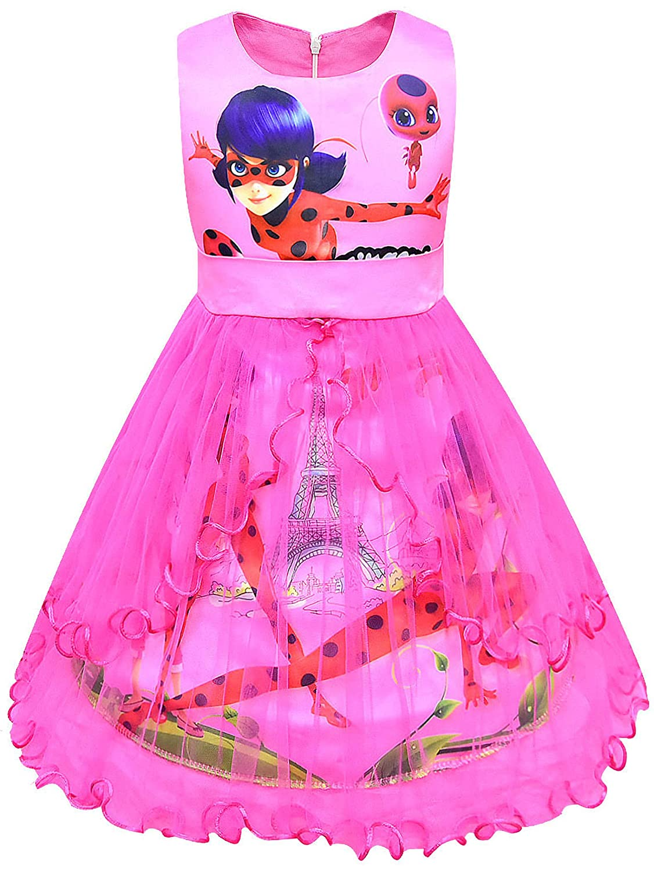 New front Niñas Vestido Ladybug Disfraz de Princesa Fiesta ...