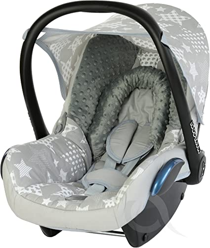Infant Carrier FULL SET Replacement Seat Cover fits Maxi-Cosi CabrioFix Group 0 grey little stars//grey minky