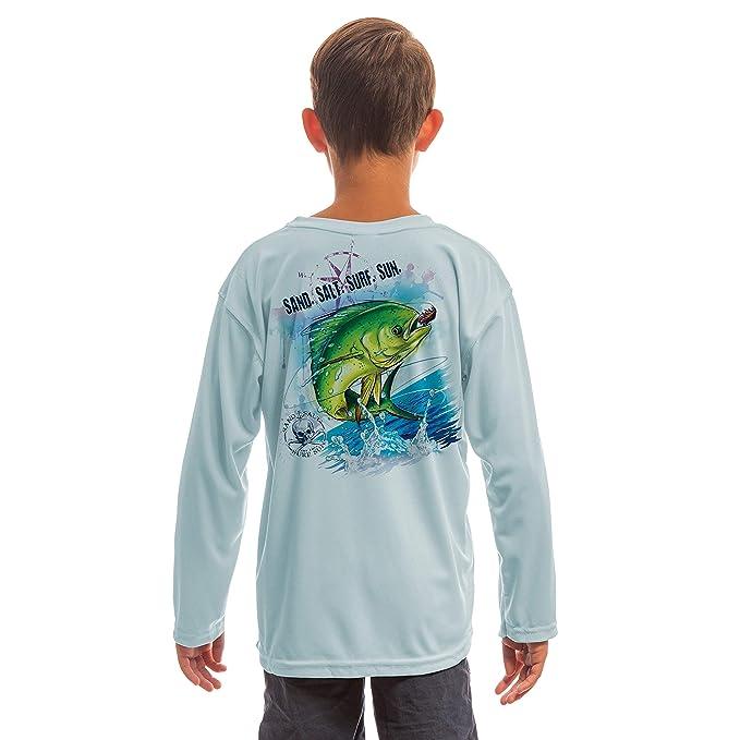 SAND.SALT.SURF.SUN. Saltwater Fish Dorado Youth UPF 50+ UV Sun Protection Performance Long Sleeve T-Shirt