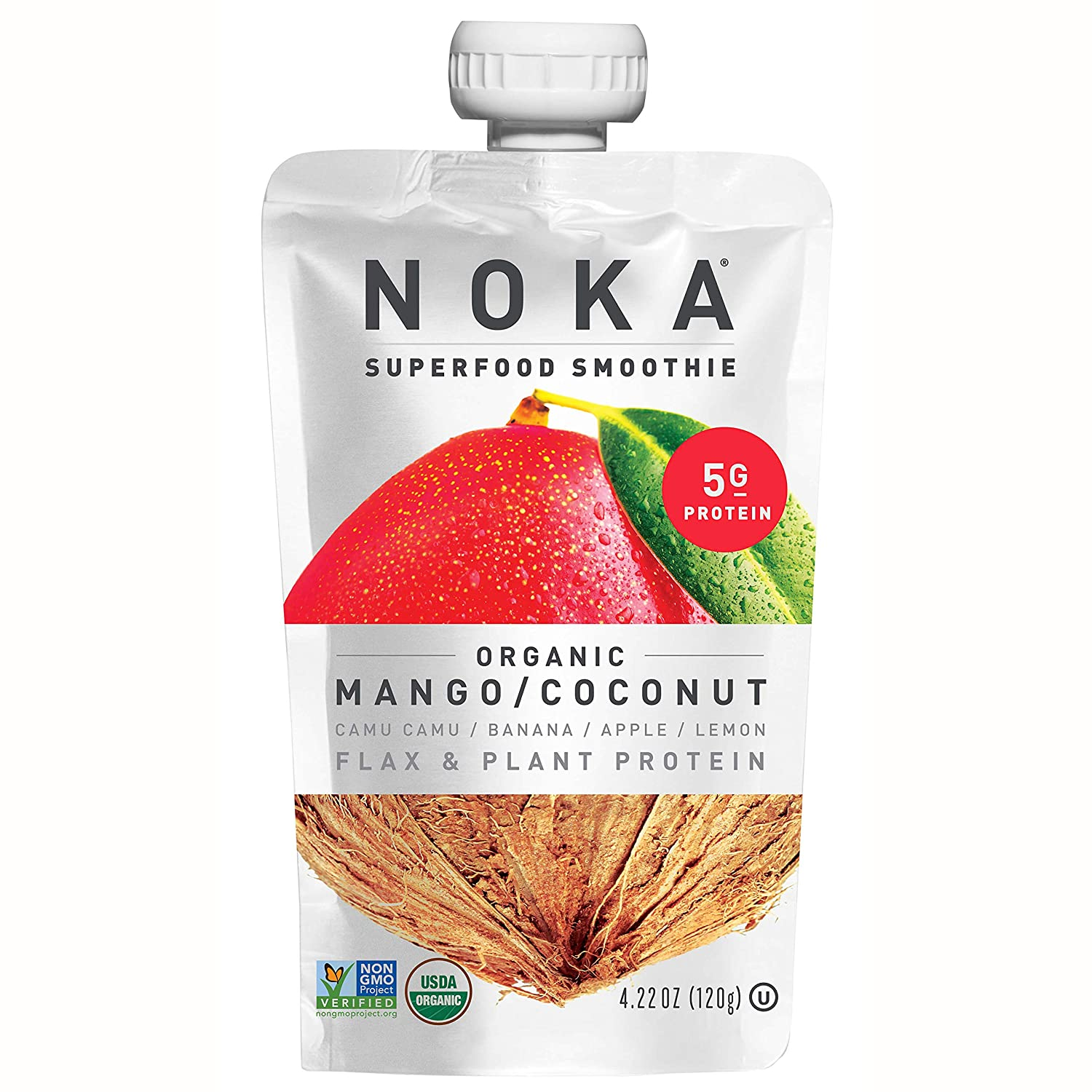 NOKA Superfood Smoothie Pouches (Mango Coconut) 12 Pack | 100% Organic Healthy Fruit And Veggie Squeeze Snack Packs | Meal Replacement | Non GMO, Gluten Free, Vegan, 5g Plant Protein | 4.2oz Each