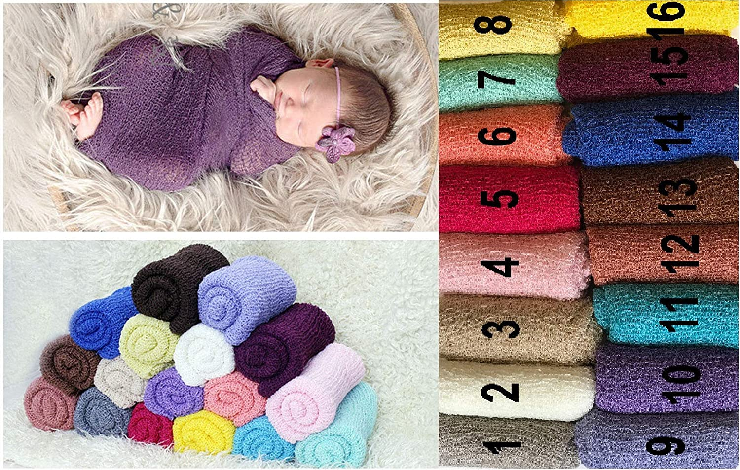 Newborn Baby Cheesecloth Swaddle Cocoon Blanket Knit Crochet Wrap Photo Photography Prop (6) Matissa ltd