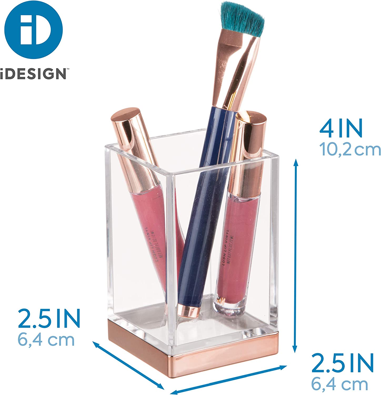 iDesign Zahnputzbecher Badaccessoire zur Zahnpflege- oder Kosmetikaufbewahrung durchsichtig und ros/égoldfarben kleiner Badezimmer Becher aus Kunststoff