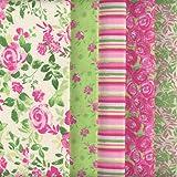Tessuti (Giardino di campagna - rosa e verde) | Confezione di 5 pezze | 100% puro cotone | 46 x 56 cm