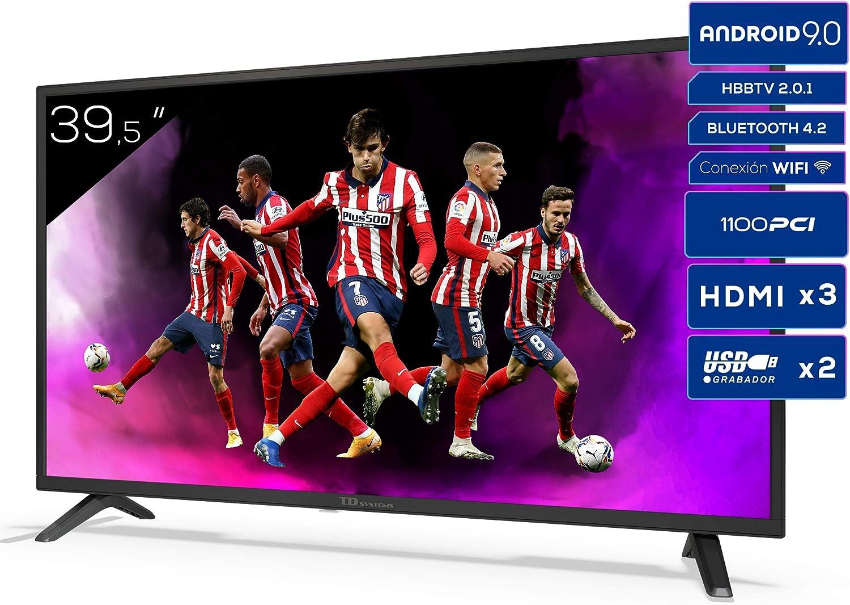 TD Systems K40DLJ12FS - Televisores Smart TV 39,5 Pulgadas Full HD Android 9.0 y HBBTV, 1100 PCI Hz, 3X HDMI, 2X USB. DVB-T2/C/S2, Modo Hotel. ...