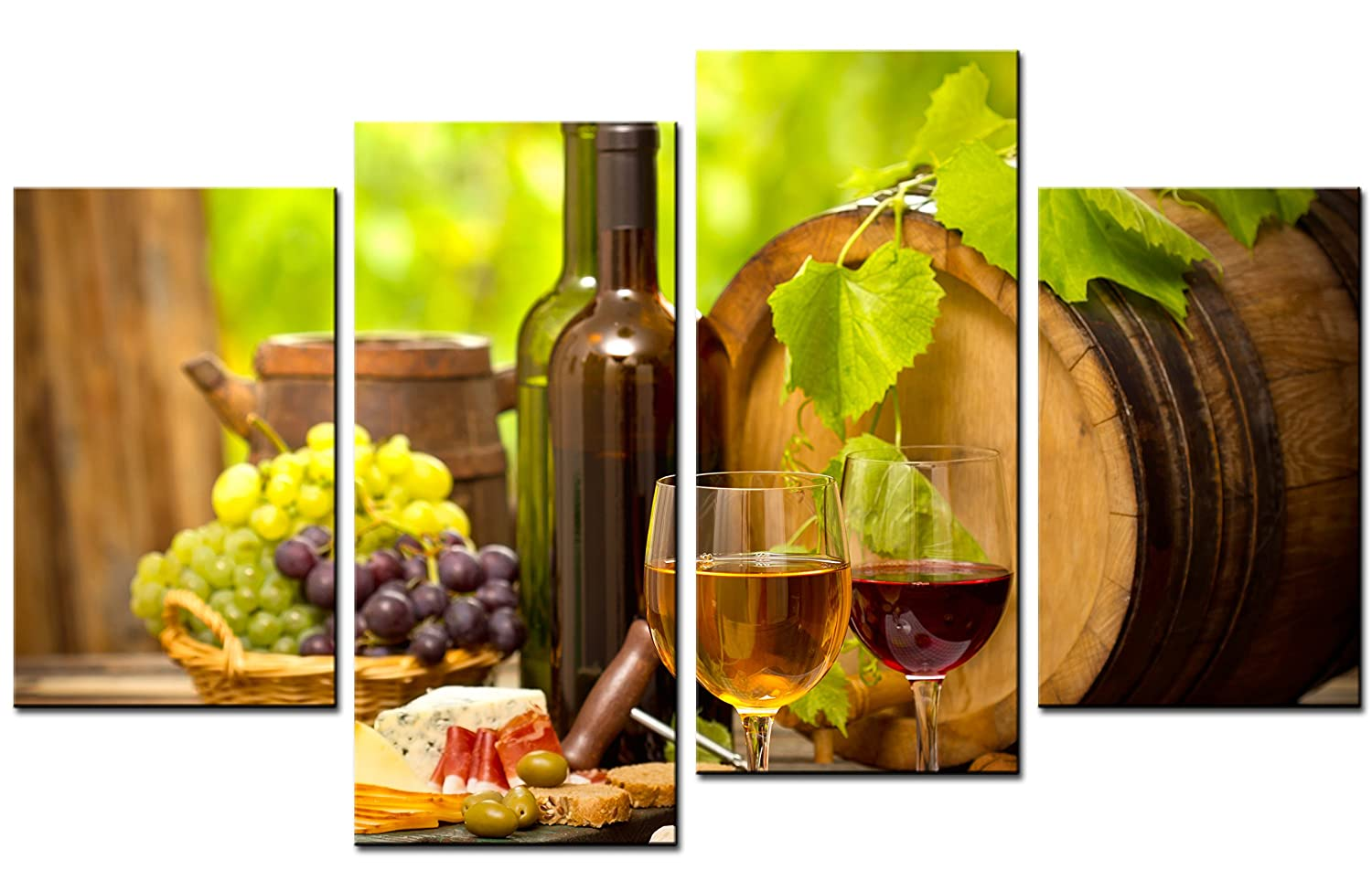Wine Paintings Wall Art French Oak Wine Barrel and Foods 4 Pieces Picture Print on Canvas for Modern Home Decoration SmartWallArt