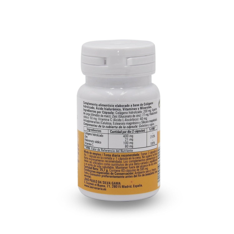 Colágeno Hidrolizado con Ácido Hialurónico, Zinc y Vitamina C .60 Cápsulas. Mejora Elasticidad Y Salud de Cartílagos, Articulaciones, Tendones y Huesos.