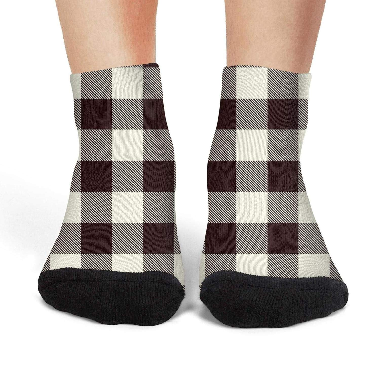 Checkerboard Red Black British Plaid Design No ShowOutdoor Non-Slid Ankle Socks for girl