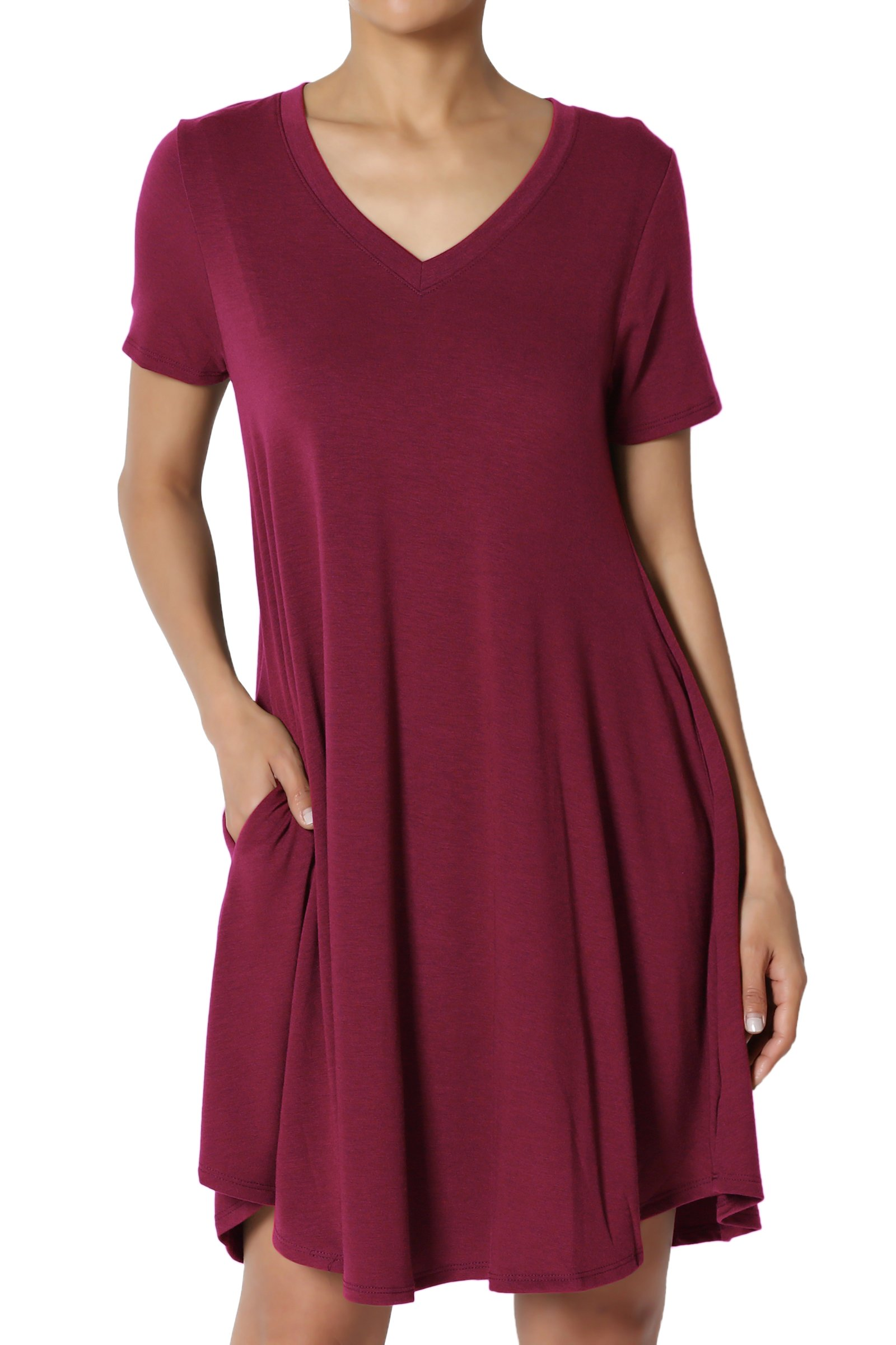 TheMogan Women's V-Neck Short Sleeve Draped Jersey Pocket Tunic Dress Wine 2XL