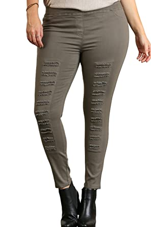 2ac533c434287 Umgee Women's Distressed Jeggings/Leggings in Reg and Plus at Amazon  Women's Clothing store: