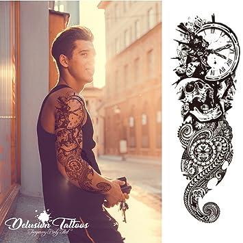 cd83537e2 Temporary Tattoo Sleeve, Realistic, Transfer, Sticker, Polynesian Death  Skull, Clock,