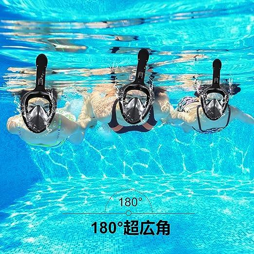 Nanle 2018 Máscaras de buceo con máscara de snorkel más nuevas con vista panorámica de 180 ° y montaje GoPro Diseño de respiración fácil Tecnología antivaho ...