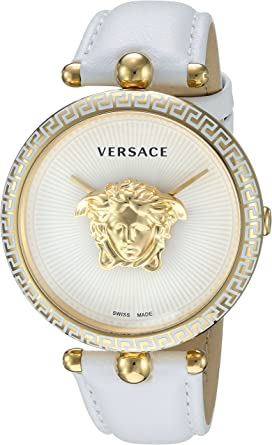 8d6ba62bef Versace Women's Palazzo Empire Yellow Gold Swiss-Quartz Watch with Leather  Calfskin Strap, White