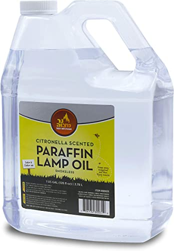 Citronella Scented Lamp Oil, 1 Gallon – Smokeless and Odorless Insect and Mosquito Repellent Paraffin Lamp Oil for Indoor and Outdoor Lanterns, Torches, Oil Candle – by Ner Mitzvah