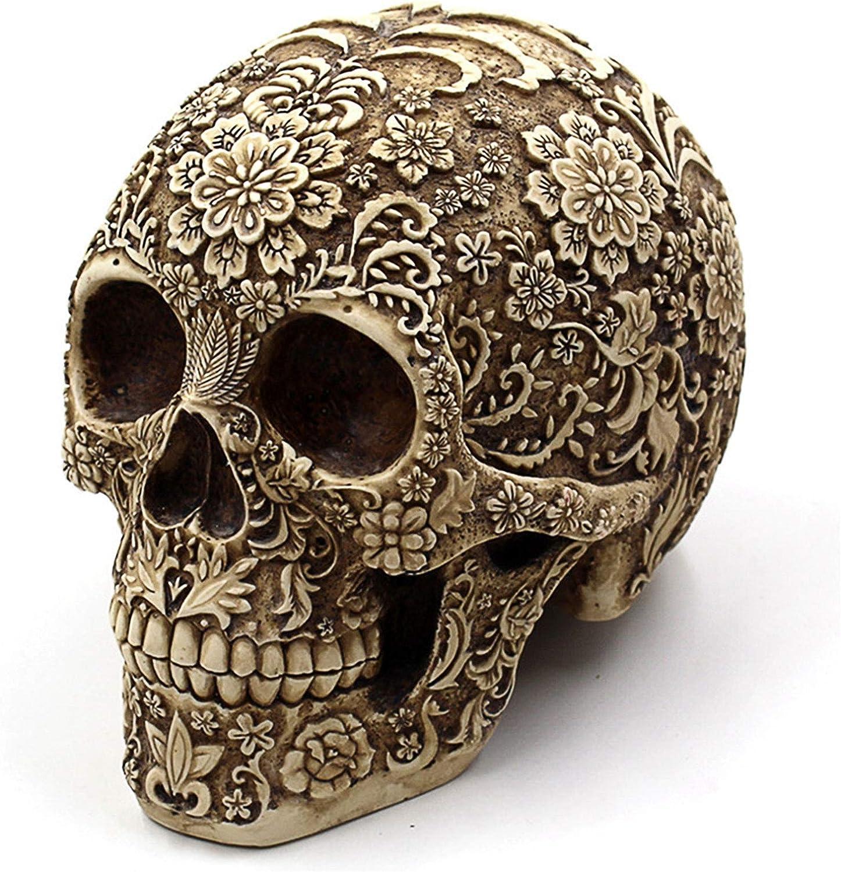 Ujoy Creative Skull Flowers Sculpture 8.1'' Human Head Skeleton Statue Collectible Halloween Decoration Home Decor
