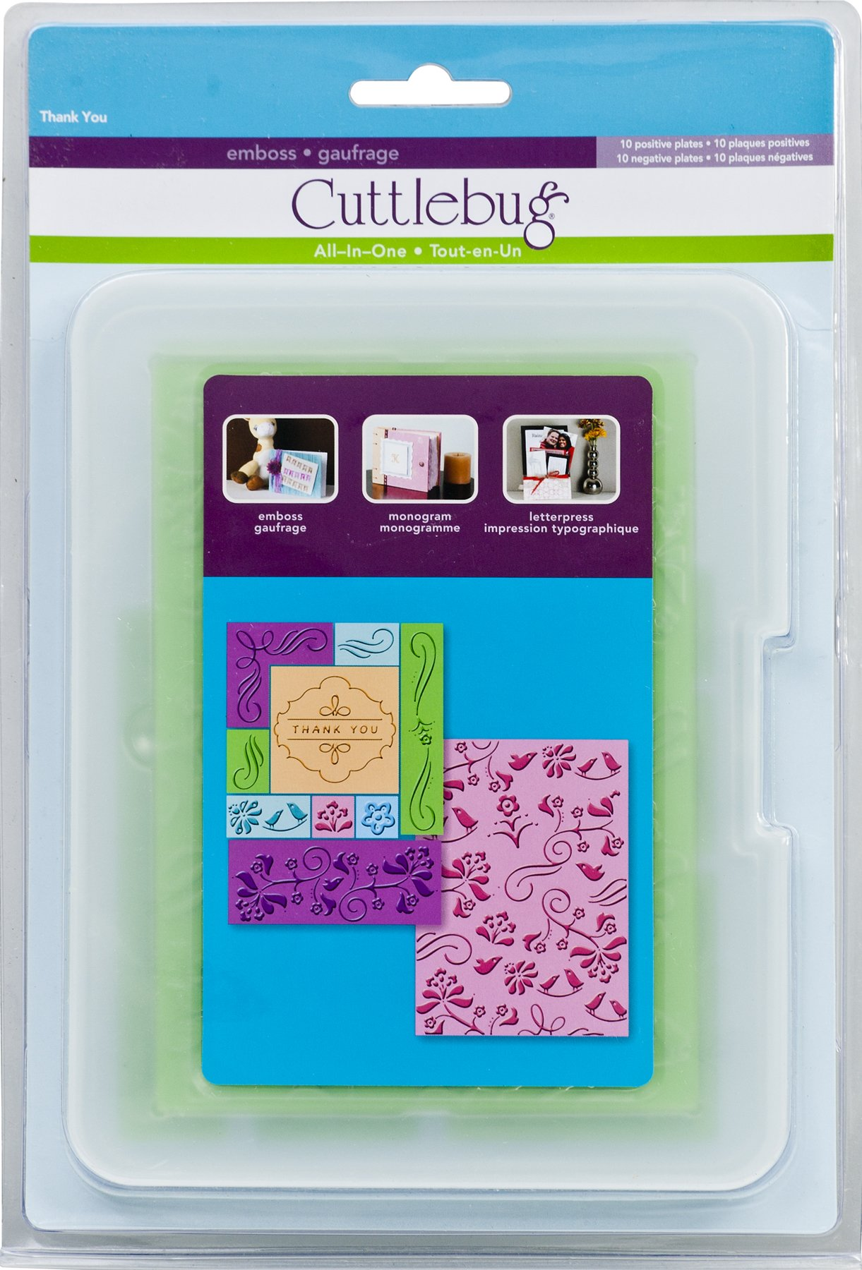 Cuttlebug All-In-One Embossing Plates, Thank You