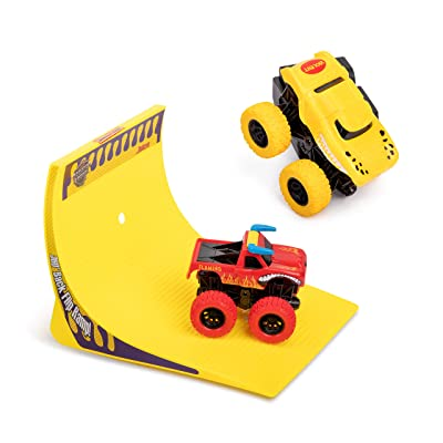 Kidstech Super Friction Monster Trucks with 360 Degrees Back Flip Ramp Track Set of 2 Cars - Push N Go Large Wheel Cars for Kids Ages 3+ (Colors May Vary): Toys & Games