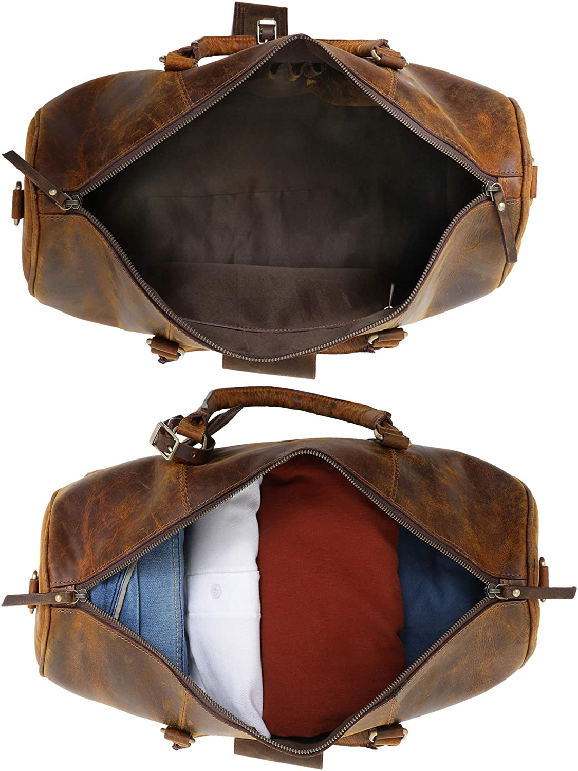 Airplane Underseat Carry On Luggage by RusticTown Leather Duffel Bags for Men