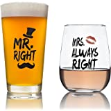His and Hers Gift - Mr. Right and Mrs. Always Right 16 oz Novelty Beer Glass and 16 oz Stemless Wine Glass - Perfect Wedding and Engagement Gift