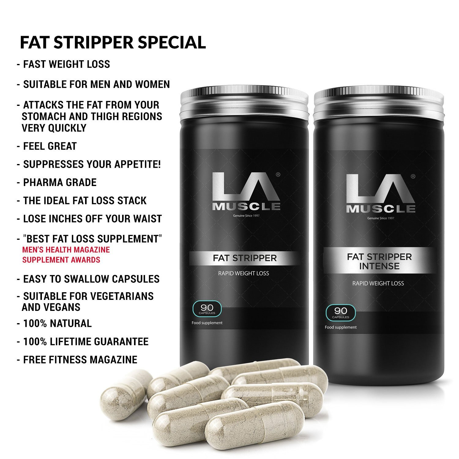 LA Muscle Fat Burners Weight Loss Diet Pills, Easy to swallow capsules suitable for vegetarians and vegans, , 2 Products in this amazing FAT BURNING STACK!