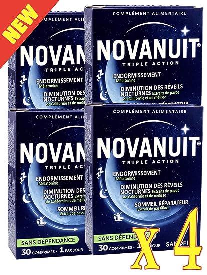 novanuit sueño triple action – Pastillas sin Dioxide de titanio – 4 meses de tratamiento –