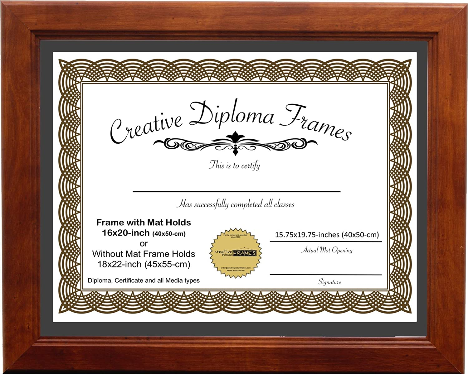 Creative Picture Frames 16x20 Walnut Finish Diploma Frame with Black Mat UV Resistant Acrylic Face and Installed Wall Hangers| Frame Holds 16x20-inch Media Without Mat