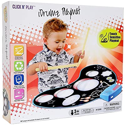 Click N Play Kids Electronic Touch Sensitive Play Mat Drum Set With Real Drum Sounds: Toys & Games