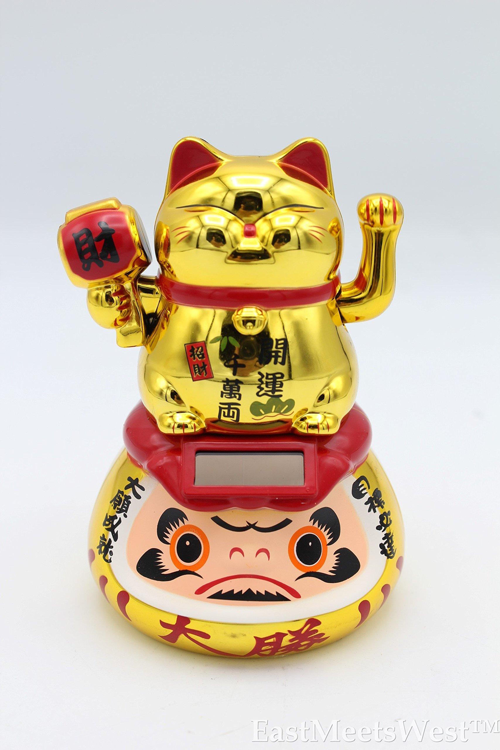 EastMeetsWest New Edition Solar Japanese Feng Shui Lucky Maneki Neko Waving Paw Beckon Cat on Daruma